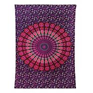 Cotton Prune Red Floral Printed Mandala Tapestry