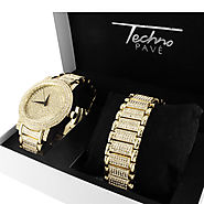 14K Gold Finish Techno Pave Watch Bracelet Set at Master Of Bling