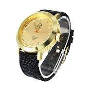 Book Black Fabric Band Gold Tone Techno Pave Men's Watch at Master Of Bling