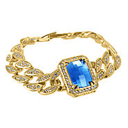 Buy 14K Yellow Gold Finish Aqua Blue Gemstone Bracelet at Master Of Bling