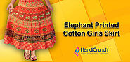 Elephant Printed Cotton Skirts for Girls