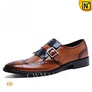 CWMALLS Mens Leather Fringe Wingtip Loafers CW716205