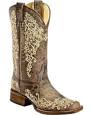 Corral Ladies Brown Crater Bone Embroidery Western Boot