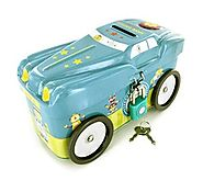 Boy's Car Tin Tithing Bank - My First Tithing Bank - Rotating Wheels - Includes Lock & Keys