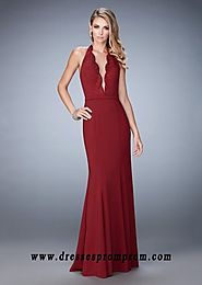 Scalloped Plunging Neckline Crimson Evening Gown 2016
