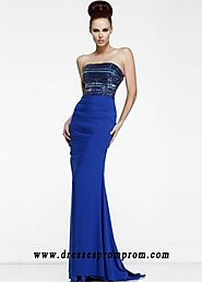 Royal Blue Column Rhinestone With A Sweep Train Top Evening Gown