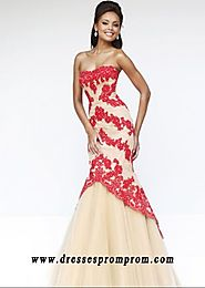 Strapless Red Nude Lace Floral Patterns Mermaid Gown Hot Sale