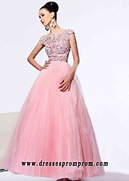 Long High Neck Cap Sleeves Beaded Sherri Hill 2984 Blush Silver Formal Dress