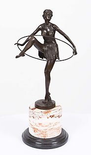 Elegant Art Deco Bronze Hoop Dancing Girl Alonzo