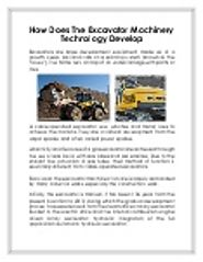 How Does The Excavator Machinery Technology Develop