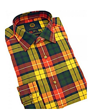 This is Buchanan's Check Style Mens Wool Formal Shirts