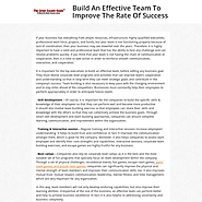Build An Effective Team To Improve The Rate Of Success