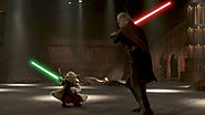 "Yoda fighting Count Dooku in ""Attack of the Clones"""