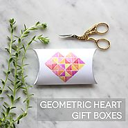 Geometric Heart Printable Pillow Boxes - Lines Across