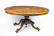 Antique Burr Walnut Marquetry Oval Loo Table C1860