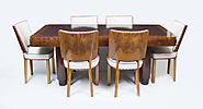 Antique Art Deco Walnut Rosewood Dining Table 6 Chairs