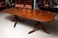 Burr Walnut Regency Style Twin Pillar Dining Table