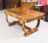 Antique Art Deco Burr Walnut Dining Table c.1930