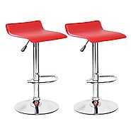 Red Leather Bar Stools for Kitchen