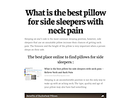 What is the best pillow for side sleepers with neck pain 2016 on Flipboard