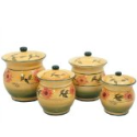 Sunflower Garden Collection Handcrafted 4-Piece Kitchen Canister Set