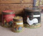 Shabby Country Chic Rooster Tin Canister Set