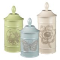 Grasslands Road Ambiance Flower Bird Butterfly Embossed Stoneware Canisters