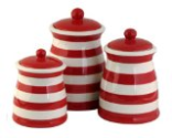Terramoto Ceramic 3-Piece Stripes Canister Set, Red