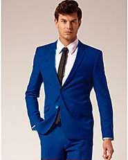 Wear Bright Blue Suit For A Glittery Impression