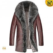 CWMALLS® Raccoon Fur Trimmed Brown Coat CW852465