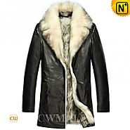 CWMALLS® Mens Black Wolf Fur Coat CW855418