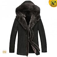 CWMALLS® Boise Hooded Fur Sheepskin Coat CW851337