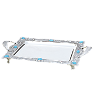 Buy Gifts Online India Tray Rectangle with Turquoise-Stones