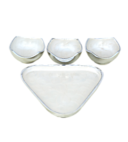 Buy Gifts Online India Plain Triangle Tray with 3 Bowls (White)