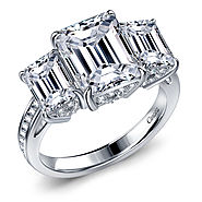 Fancy Emerald Cut Three Stone Diamond Engagement Ring in 14K White Gold