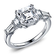 Diamond Five Stone Asscher, Trapezoid Baguette Engagement Ring in 14K White Gold
