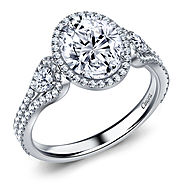 Diamond Halo Three Stone Engagement Ring in 14K White Gold