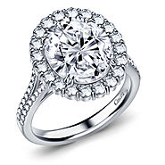 Fancy Oval Diamond Split Shank Halo Cathedral Engagement Ring in 14K White Gold