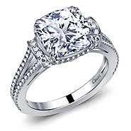 Fancy Cushion Diamond Split Shank Cathedral Engagement Ring in 14K White Gold