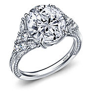Fancy Oval Diamond Engagement Ring with Prong and Pave Accents in 14K White Gold