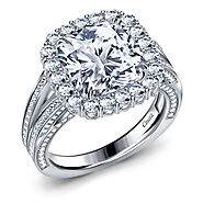 Fancy Cushion Cut Diamond Halo Split Shank Engagement Ring in 14K White Gold