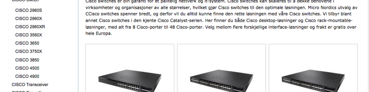 Headline for Cisco Switch og top Cisco Produkter
