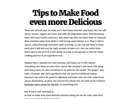Tips to Make Food even more Delicious