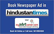 Book Newspaper ad in Hindustantimes