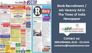 Find the appropriate talent for your company via The Times of India Recruitment Classified Ads | Myadvtcorner