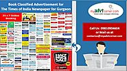 Times of India Ad Booking for Gurgaon is best done online | Myadvtcorner