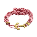 Nautical Stainless Steel Anchor (Gold Tone) Clasp Pink Knot Woven Bracelet