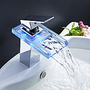 Color Changing LED Waterfall Bathroom Faucet