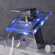 Color Changing LED Waterfall Bathroom Faucet - Chrome Finish