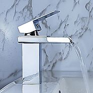 Modern Single Handle Waterfall Bathroom Faucet - Chrome Finish
